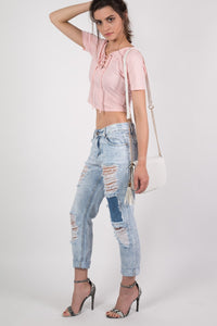 Lace Up Front Crop T-Shirt in Peach 4