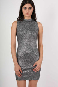 High Neck Metallic Detail Sleeveless Bodycon Dress in Silver 0
