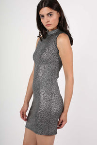High Neck Metallic Detail Sleeveless Bodycon Dress in Silver 1