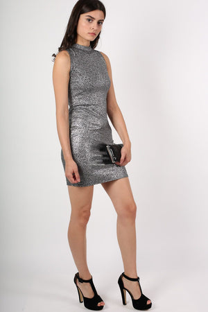 High Neck Metallic Detail Sleeveless Bodycon Dress in Silver 4