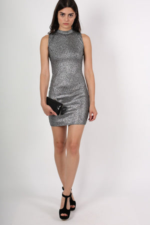 High Neck Metallic Detail Sleeveless Bodycon Dress in Silver 5