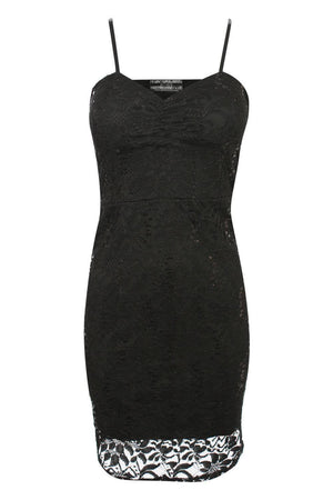 Strappy Sequin Lace Bodycon Dress in Black 2