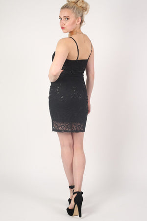Strappy Sequin Lace Bodycon Dress in Black 5