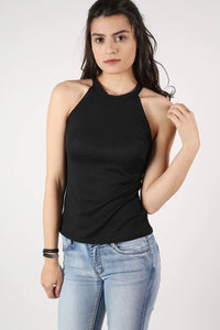 High Neck Knitted Top in Black 1