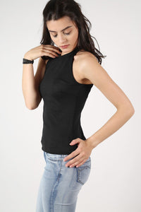 High Neck Knitted Top in Black 3