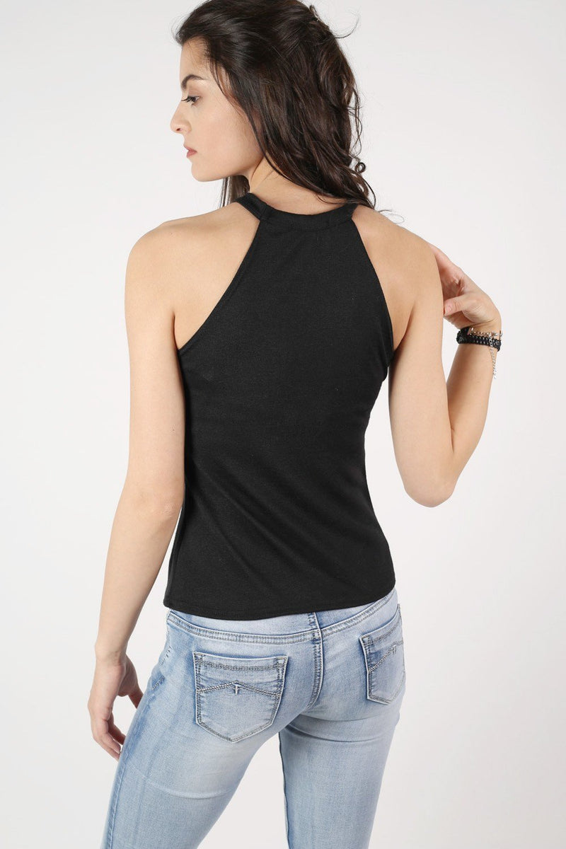 High Neck Knitted Top in Black 4