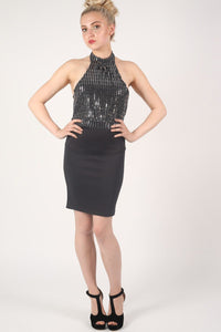 Sequin Detail Halter Bodycon Dress in Silver 3