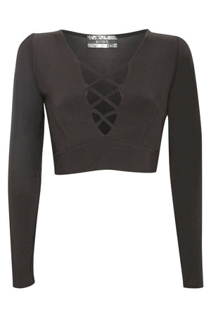 Slinky Lace Up Long Sleeve Crop Top in Black 2