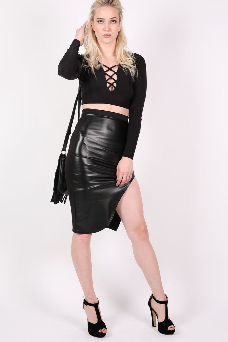 Slinky Lace Up Long Sleeve Crop Top in Black 5