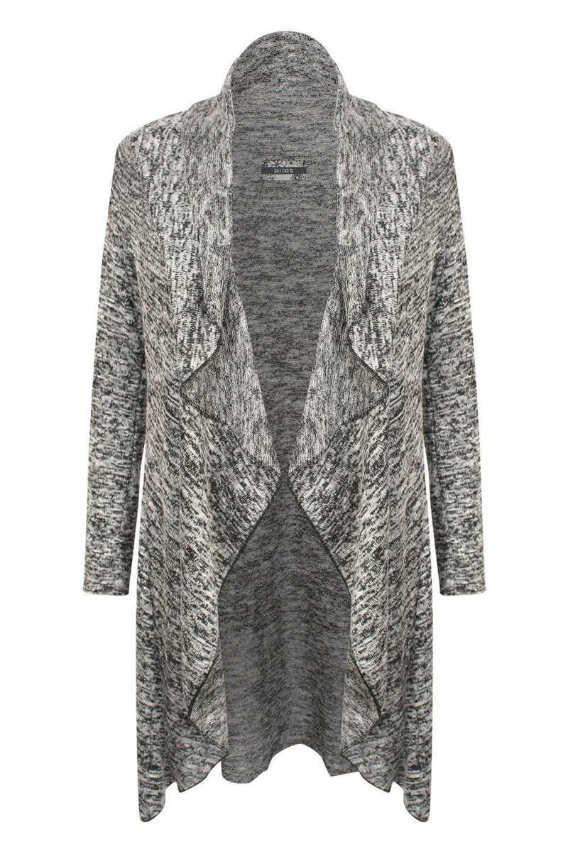 Long Sleeve Slub Knit Waterfall Cardigan in Grey 2