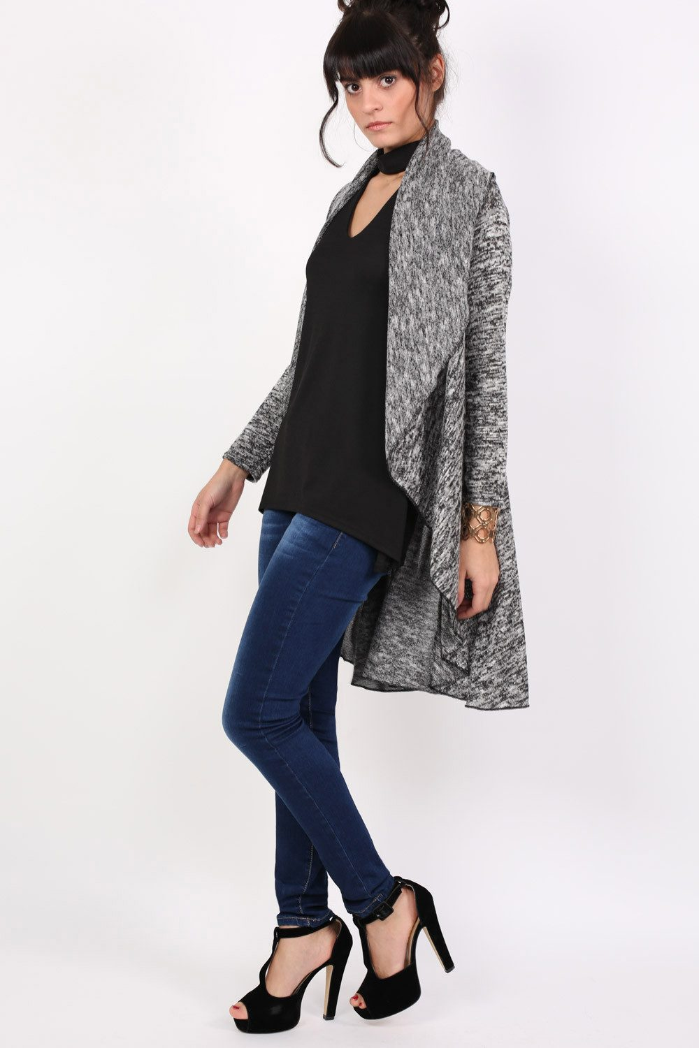Long Sleeve Slub Knit Waterfall Cardigan in Grey MODEL SIDE