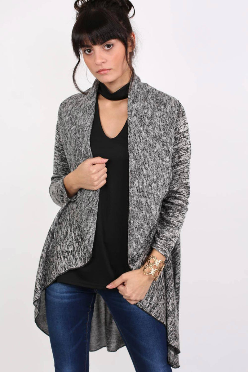 Long Sleeve Slub Knit Waterfall Cardigan in Grey MODEL FRONT