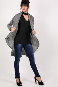 Long Sleeve Slub Knit Waterfall Cardigan in Grey MODEL FRONT 2