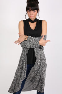 Long Sleeve Slub Knit Waterfall Cardigan in Grey MODEL FRONT 3