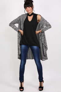 Long Sleeve Slub Knit Waterfall Cardigan in Grey MODEL FRONT 4