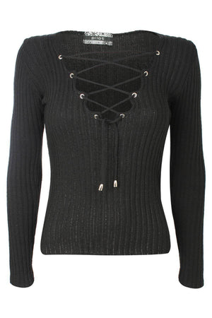Knitted Rib V Neck Lace Up Front Jumper in Black 2