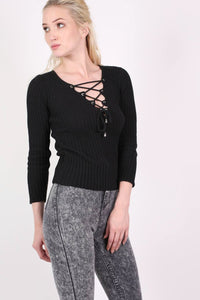 Knitted Rib V Neck Lace Up Front Jumper in Black 0