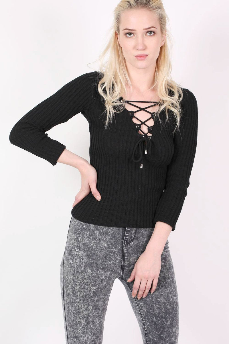 Knitted Rib V Neck Lace Up Front Jumper in Black 1