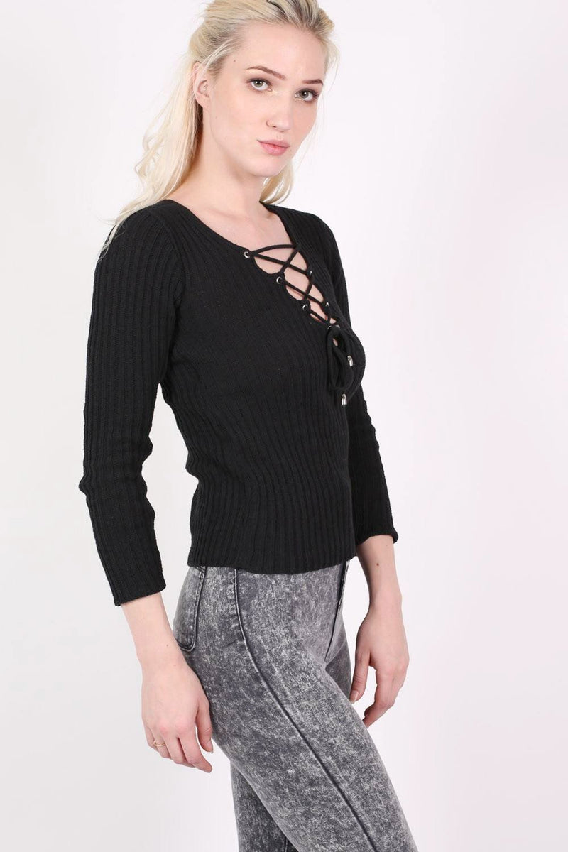 Knitted Rib V Neck Lace Up Front Jumper in Black 3