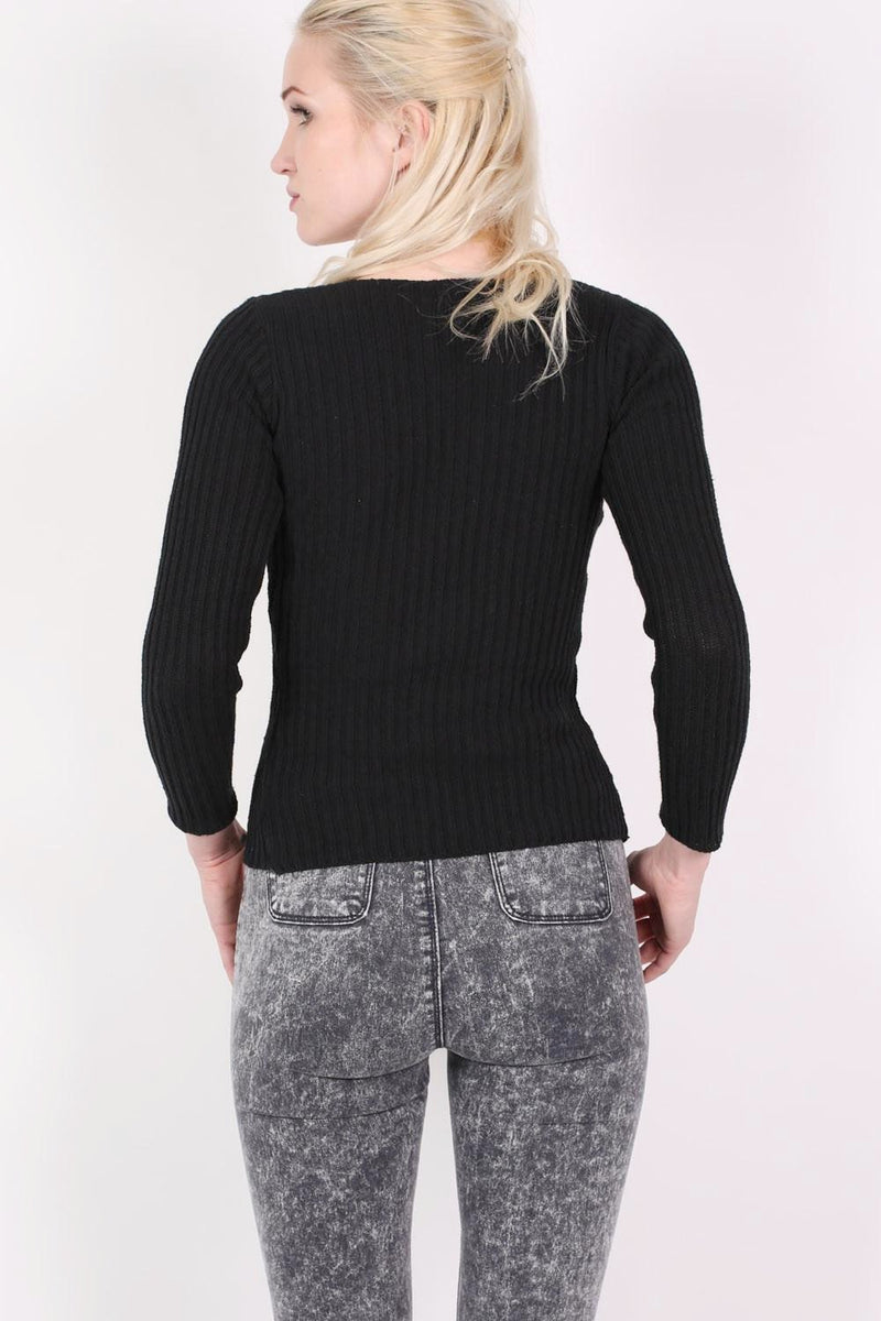Knitted Rib V Neck Lace Up Front Jumper in Black 4