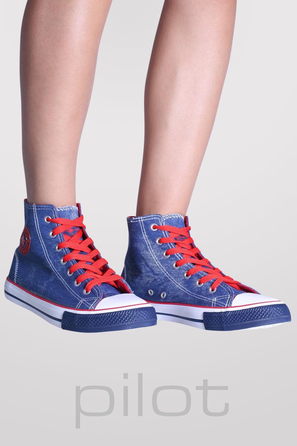 Ashlynn High Top Trainers in Navy Blue 1