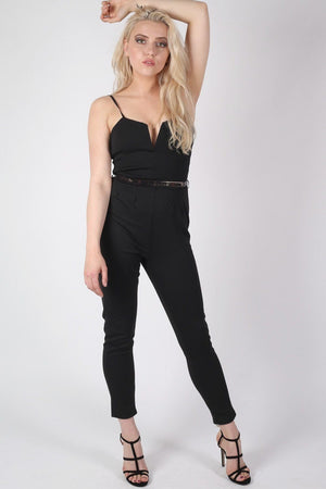 V Front Belted Jumpsuit in Black 0
