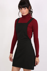 A-Line Plain Pinafore Dress in Black MODEL FRONT