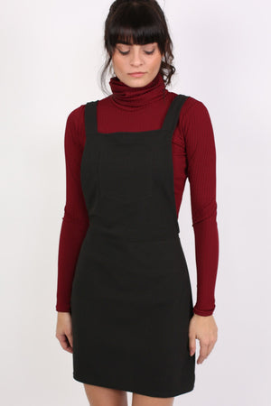 A-Line Plain Pinafore Dress in Black MODEL FRONT 2