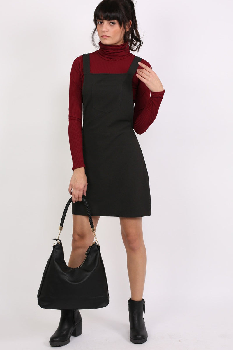 A-Line Plain Pinafore Dress in Black MODEL FRONT 3