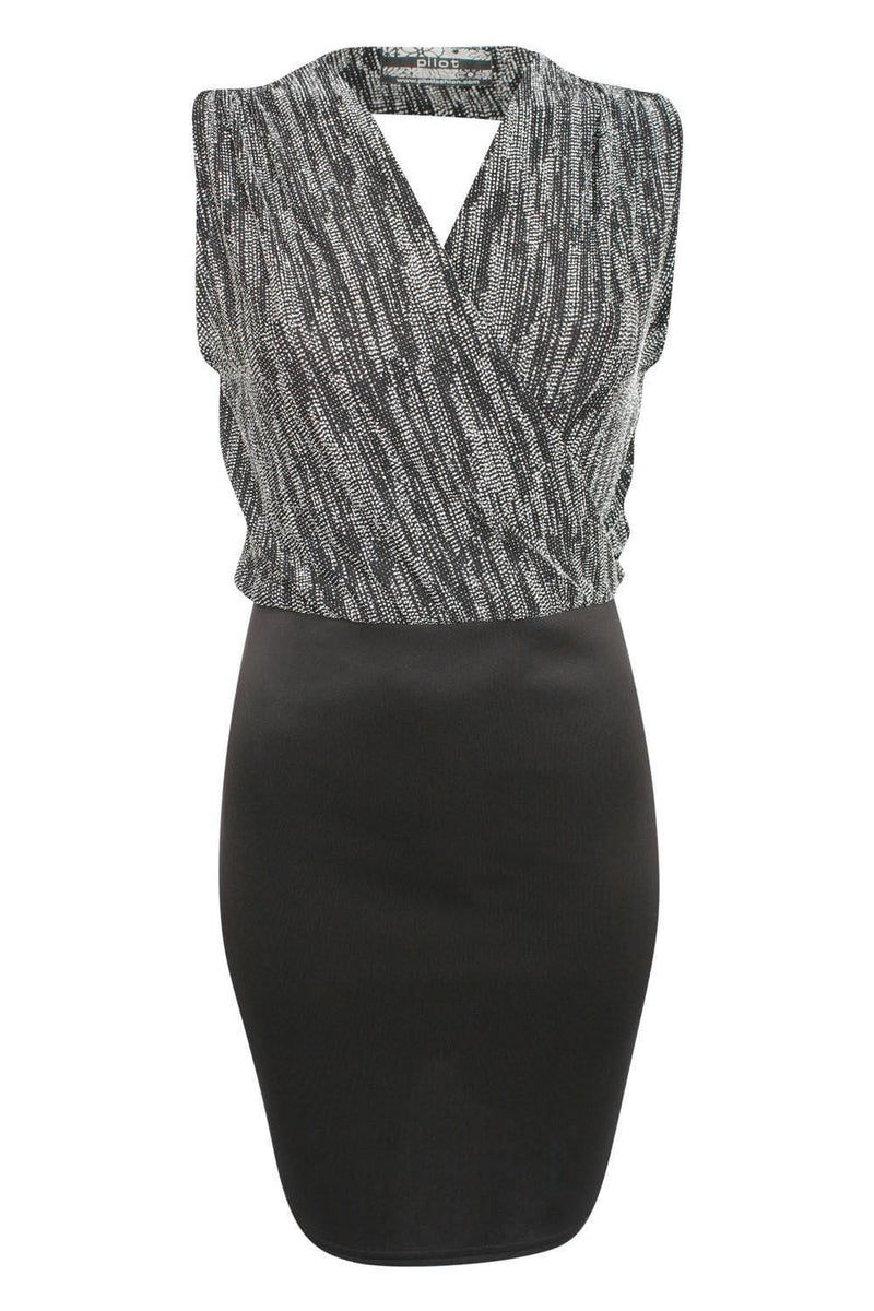 Sleeveless Metallic Crossover Dress in Black & Silver 2