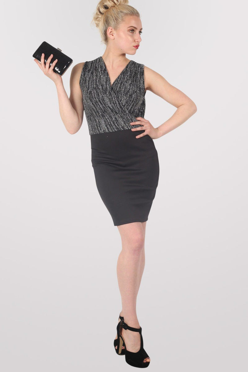 Sleeveless Metallic Crossover Dress in Black & Silver 0