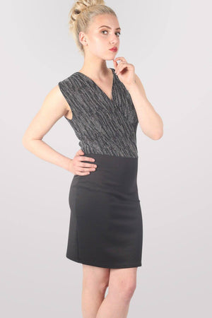 Sleeveless Metallic Crossover Dress in Black & Silver 3