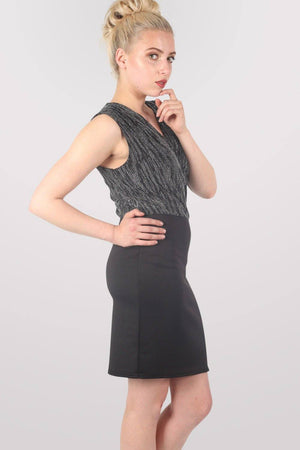 Sleeveless Metallic Crossover Dress in Black & Silver 4