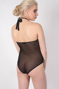 Mesh Flock Detail Halter Neck Bodysuit in Black MODEL BACK 2