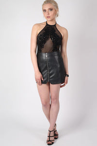 Mesh Flock Detail Halter Neck Bodysuit in Black MODEL FRONT 3