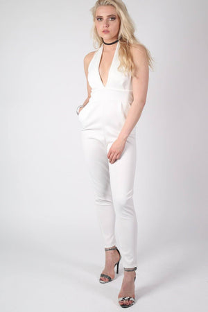 Shaya Halter Neck Plunge Jumpsuit in Cream MODEL FRONT