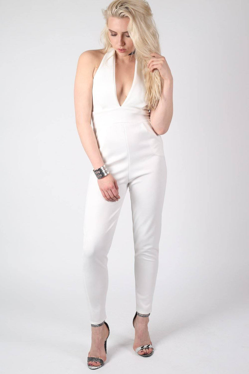 Shaya Halter Neck Plunge Jumpsuit in Cream MODEL FRONT 2