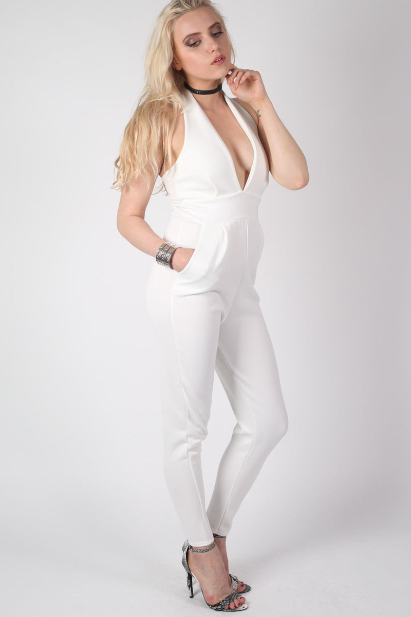 Shaya Halter Neck Plunge Jumpsuit in Cream MODEL SIDE