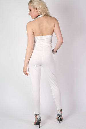 Shaya Halter Neck Plunge Jumpsuit in Cream MODEL BACK