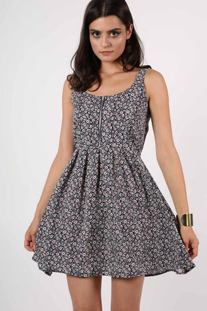Floral Print Skater Dress in Navy Blue MODEL FRONT