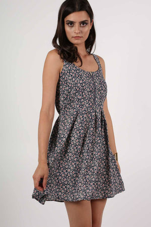 Floral Print Skater Dress in Navy Blue MODEL FRONT 2