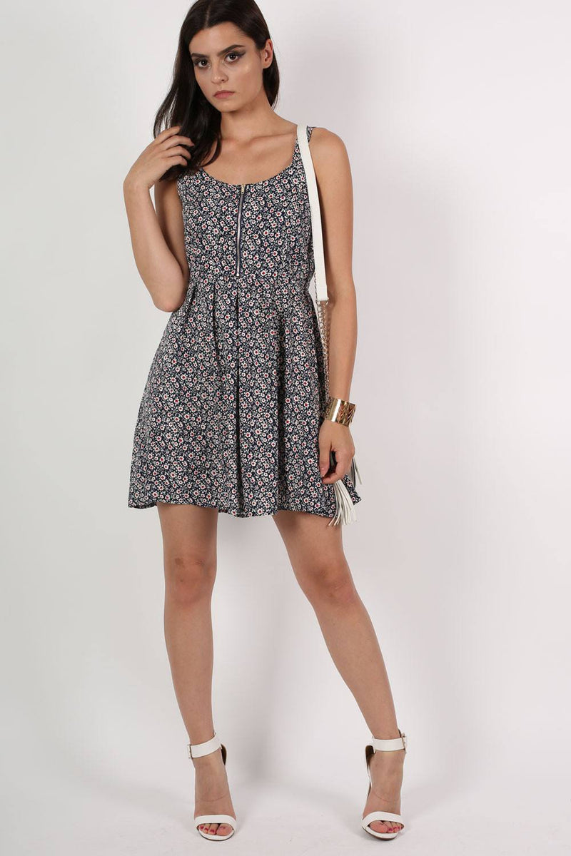 Floral Print Skater Dress in Navy Blue MODEL FRONT 3