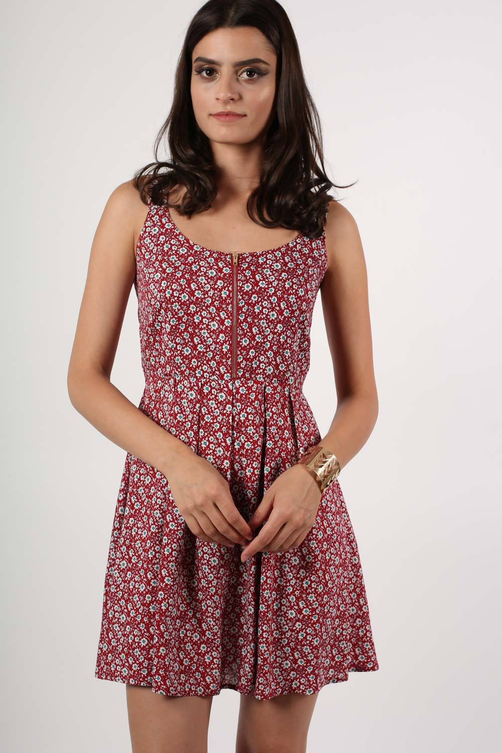 Floral Print Skater Dress in Red MODEL FRONT