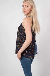 Floral Print Split Back Sleeveless Top in Navy Blue MODEL SIDE