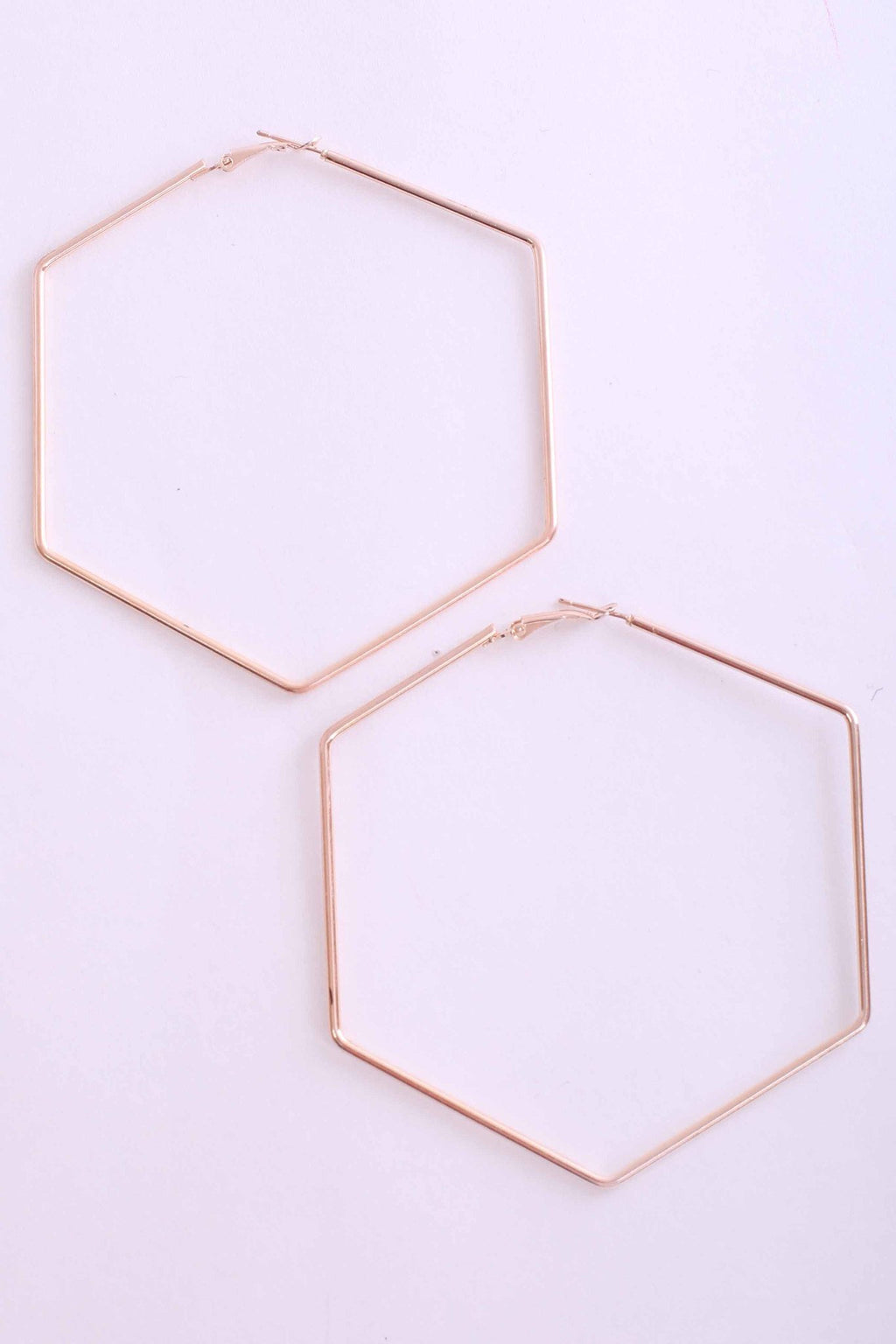 Hexagonal Earrings in Gold 0