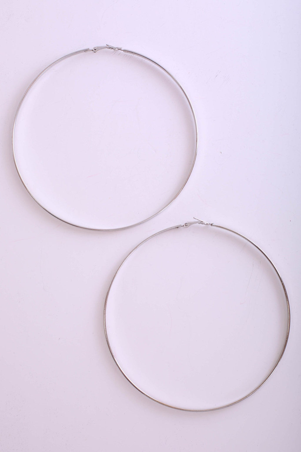 Flat Edged Large Hoop Earrings in Silver 0