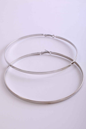 Flat Edged Large Hoop Earrings in Silver 1