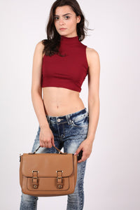 Front Buckle Satchel in Tan Brown 0