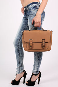 Front Buckle Satchel in Tan Brown 1