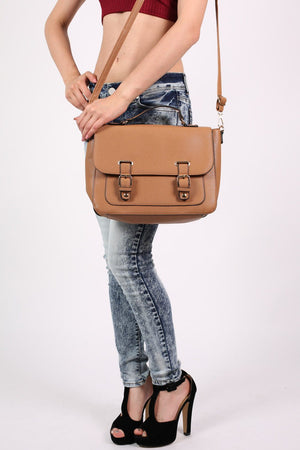 Front Buckle Satchel in Tan Brown 2